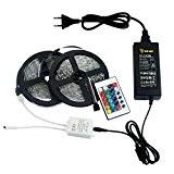 ALED LIGHT® 2 Rouleaux Longueur 2x5M 10 Mètres(32.8 ft) 3528 SMD 300 LED RVB Lampe Ruban LED Bande Avec 24 ...