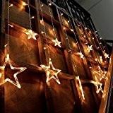 Amzdeal 138 LEDs Rideaux des Lumières LED en forme d'étoile Guirlande lumineuse Décoration de mur ou de fenêtre pour Mariage, ...