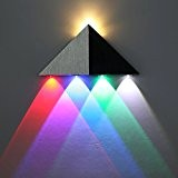 Amzdeal Applique murale lampe design 5W LED triangle éclairage decoratif en aluminium lampe pour couloir salon chambre - blanc chaud, ...