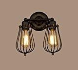 CLAXY Industriel Applique Murale Lampe Double Abats-jour en Métal Luminaires Applique Murale pour Chambre Cuisine Couloir