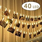 Cookey LED Photo Clip Chaîne Lights - 40 Photo Clips 5M Batterie LED Lumières photo pour la décoration Suspendre Photo, ...