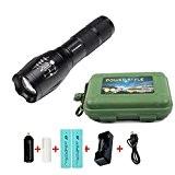 Coomatec SD-100 Kit Ultra Puissante 900 Lumens Lampe de Torche Militaire Poche LED rechargeable Zoom Flashlight 18650 Chargeur