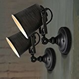 Coquimbo Rustique réglable Simple Industrial Lumière Applique Murale Luminaire Lampee Home Decor Sans Ampoule, Noir