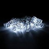 ELINKUME 1X 20 Clips Photo LED Guirlandes 2,2M/7,2Pieds Blanc Froid Intérieur Décoration Éclairage Puissance de la Batterie Donnant une Nuit ...
