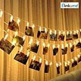 ELINKUME LED Photo Clip guirlandes, 20 Clips Photo, 2,2 m/7,21 pieds, blanc chaud, alimenté par batterie, idéal pour accrocher des ...