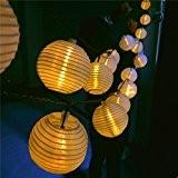 Finether 18.37 ft 5.6 m Guirlande Lumineuse Solaire Lumières Chaines 20 LED Nylon Lanterne avec Eclat Blanc Chaud pour Extérieur ...