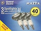 GE 40W E14SES R50Réflecteur Spot ampoules [Lot de 3], petit culot à vis Edison à incandescence, lampes spot