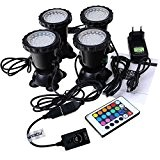 GEEDIAR 36 LED Spot Led Submersible Ampoule / Lampe LED Etanche 1 set avec 4 Lumineuse LED RGB 36 Colorful ...
