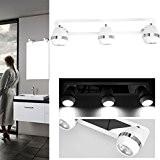 GOGO GO LED Plafonnier Applique Murale de Spot Rail Miroir Lumineux de Maquillage Coque Blanc avec 3 Ampoules LED GU10 ...