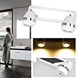GOGO GO LED Plafonnier Applique Murale de Spot Rail Miroir Lumineux de Maquillage Coque Blanc avec 2 Ampoules LED GU10 ...