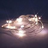 Guirlande Lumineuse avec Minuterie de 6 heures,Piles 20 LED Blanches Chaudes Câble Cuivre Pour Noël Mariage Fêtes