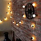 Guirlande Lumineuse Festive Guinguette 20 Ampoules Rondes à LED 4,75 Mètres Intérieur et Extérieur Waterproof (Blanc Chaud)