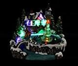 HOME VILLAGE 5MAI372MC Village Fontaine Animé/Musical avec 11 Ampoules LED Résine/Poly résine Multicolore