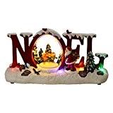 HOME VILLAGE 5MAI550MC Noel en Lettres Animé/Musical avec Ampoule LED Résine/Poly résine Multicolore