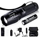 ilauke Lampe de Torche Poche Ultra Puissante 900 Lumens 5 Modes LED Rechargeable Crée Zoom Flashlight 1*18650 Chargeur Kits
