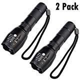 iMing Ultra Lumineux Zoomable LED Lampe Torche Standard Tactique Lampe de Poche Pour Camping Extérieur (2 Paquets)