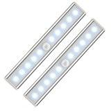 Lampe Armoire Placard 2 pièces, Lifebee Lumière 10 Ampoules LED avec Détecteur Infrarouge du Mouvement, Veilleuse Sans Fil de Penderie ...