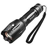 Lampe de poche tactile portatif, Simpeak Aluminium T6 LED torche à main Torche de mise au point rotative, 5 modes ...
