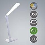 Lampe de table LED USB à intensité variable Blanc chaud 12W, Plastique, weiß, Blanc, LED 230.00 volts