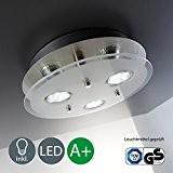 Lampe LED de Plafond/plafond Ampoule/Lampe de Salon/GU10/3x 3W/3x 250lm/Verre partiellement satinée/rond/Nickel mat[Classe énergétique A+]