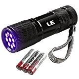 LE 9 LEDs Lampe Torche UV Portable, Lampe de poche à Ultraviolets en Métal, Rétro-éclairage, 395nm, pour traceurs fluorescents ou ...