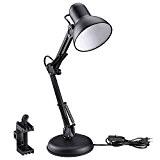 LE Lampe de Bureau LED 5W avec Bras Pliable, Culot E27, Vintage, option Serre-joint avec pince ou base, Lampe de ...
