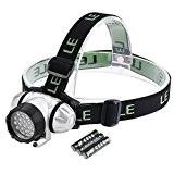 LE Lampe frontale Phares à LED Super lumineux, 18 LED Blanches et 2 LED rouges, 4 choix de niveau de ...