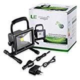 LE Projecteur LED 20W Portable, Lampe de Travaux Rechargeable, Equivalent à Ampoule Halogène 100W, 1400lm, Lumière Blanc du Jour 6000K ...