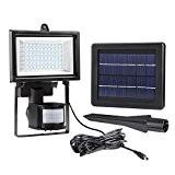 LE Projecteur Solaire LED Rechargeable avec Détecteur de Mouvements 60 LEDs, Étanche IP65, 6000K Lumière Blanche du Jour, Éclairage de ...