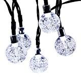 lederTEK Guirlande lumineuse solaire en forme de boule de cristal 6m de long 30 LEDs lampe solaire de 2 modes ...