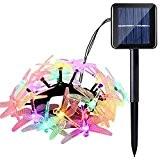 lederTEK guirlande solaire extérieur en forme de libellule lumières led imperméable 4.8m 20 LED 8 modes lampe décorative pour extérieure, ...