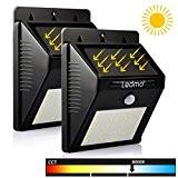 LEDMO 2-Pack 20 LED Lampe Solaire Jardin, Éclairage Détecteur de Mouvement etanche pour extérieur, Clôture, Patio, Pont, Cour, Allée, Escalier. ...