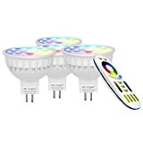 Lighteu, 4 x Ampoule LED Multicolore RVB/RGB plus blanc chaud, WiFi, 4W/GU5.3, Milight original®, intensité variable, possible de contrôler par ...