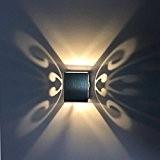 Liqoo® 3W Applique Murale LED Lampe Decorative Designe Moderne Carré 220lm Blanc Chaud Aluminium Luminaire Intérieur Ideal pour Décor Vitrine ...
