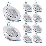 Liqoo® Lot de 10 Spots Encastrables LED 3W L Projecteur Encastré Lampe Plafonnier Orientable Blanc Froid Plafond Rond 6000K-6200K 300 ...