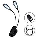 LIVHÒ | Lumière de lecture LED rechargeable, Lumière pour pupitre - 8 LED, lumière double avec 8 niveaux de luminosité ...