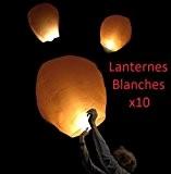 Lot de 10 Lanternes Blanches chinoise celestes volantes biodégradable pour fêtes , moments romantiques et magiques