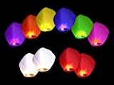 Lot de 10 Lanternes chinoise celestes volantes colorées biodégradable pour fêtes , moments romantiques et magiques