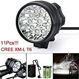 Lumière de vélo,Internet 28000 Lumens Tactical LED 11x CREE XM-L T6 Lumière de bicyclette Super Bright militaire de grade étanche ...