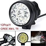 Lumière de vélo,Internet 30000 Lumens Tactical LED 12x CREE XM-L T6 Lumière de bicyclette Super Bright militaire de grade étanche ...