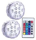 Lumière submersible de LED 2 pièces avec la télécommande, lampe multi de couleur imperméable d'Alilimall pour les piscines, bains chauds, ...