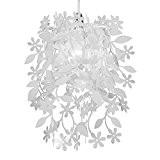 MiniSun - Belles fleurs en cascade et les feuilles florales blanches suspendues Lustre abat-jour