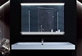 Miroir clair avec éclairage LED commutateur tactile tablette en verre 100x75cm