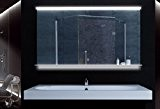 Miroir clair avec éclairage LED commutateur tactile tablette en verre 120x75cm