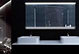 Miroir clair avec éclairage LED commutateur tactile tablette en verre 140x75cm