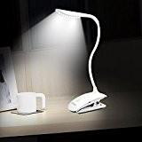 Mospro - Lampe de Bureau LED Rechargeable à Pince Blanc, Veilleuse Led Lumière Tactile, 3 niveaux de luminosité au choix, ...