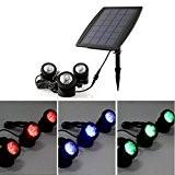 Mvpower Kit de 3pcs 6 LEDs Projecteur Lampe Solaire Panneau Spotlight RGB Multicolore Rouge/ Vert/ Bleu Lampe Etanche IP68 Pour ...