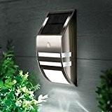 Ogori Applique LED murale à détecteur de mouvement en nickel étanche pour extérieur Noir
