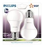 Philips Lot de 2 Ampoules LED Standard Culot E27 (Grosse Vis) 9W Consommés Équivalent 60W Partenariat Philips/EDF