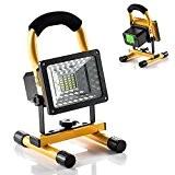 Projecteur Led Rechargeable 15W Ultra Lumineuse, Lampe Torche Portable et Leger, 360°Rotatif Multifonctionel pour Activites Exterieur et Interieur Comme Camping,Travaux ...